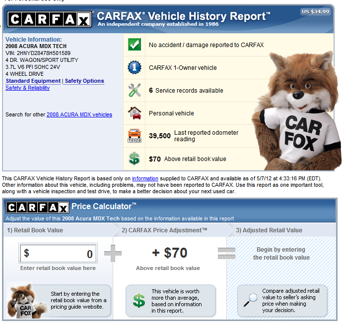 Free Sample CARFAX Vehicle History Report