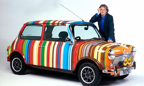 Paul Smith and a Mini in the designer's trademark stripes